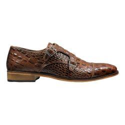 Men's Stacy Adams Golato Cap Toe Double Monk Strap 25117 Cognac Hornback Print Leather