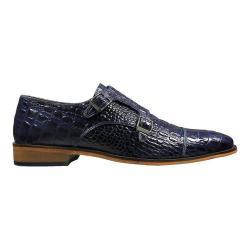 Men's Stacy Adams Golato Cap Toe Double Monk Strap 25117 Dark Blue Hornback Print Leather