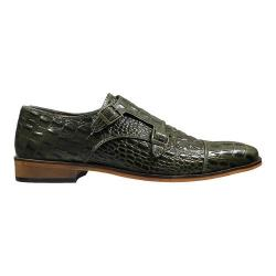 Men's Stacy Adams Golato Cap Toe Double Monk Strap 25117 Olive Hornback Print Leather