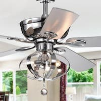 Tatiana 5-blade 52-inch Chrome Ceiling Fan with 3-Light Royal Chandelier (Remote Controlled)