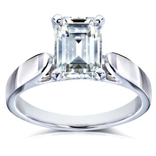 Annello by Kobelli 14k White Gold 1 Carat Emerald Cut Moissanite Engagement Ring (HI/VS)