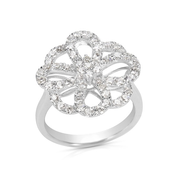 Shop Open-Work Flower Diamond Ring In 18KT White Gold (1