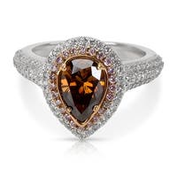 Halo Pear Shaped Brown & Pink Diamond Ring in 18KTT Gold 2.09ctw