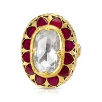 Victorian Style Oval Diamond & Ruby Ring in 18KTT Gold 7.85 ctw