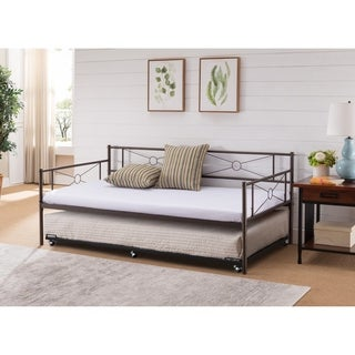 Pewter Metal Day Bed with Trundle