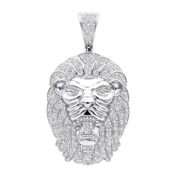 bb805804ad798 Shop Men's Diamond Pendant Solid 10k Gold Lion Head 1.2ctw & 18 ...