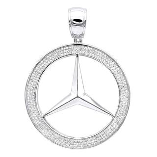 10K Gold Men S Diamond Mercedes Benz Pendant 1ctw 18 Chain Necklace By Luxurman