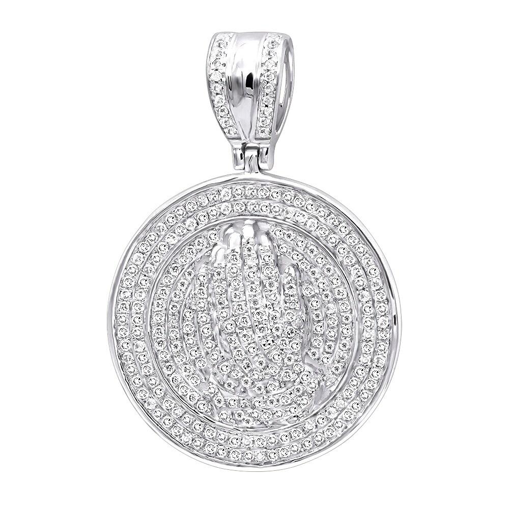 c4e708a8b23e7 Hip Hop Jewelry: Praying Hands Men's Diamond Pendant 14k Gold Medallion  0.9ctw & 18