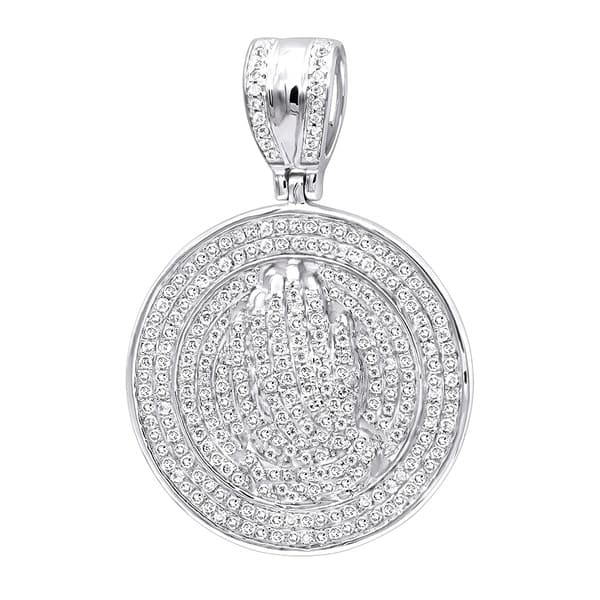 e8db2768d93 Hip Hop Jewelry: Praying Hands Men's Diamond Pendant 14k Gold Medallion  0.9ctw & 18