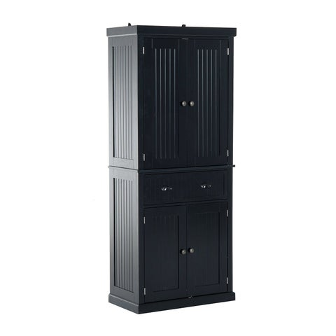 HomCom Tall 72 Traditional Colonial Style Standing Kitchen Pantry Cupboard Cabinet - Black