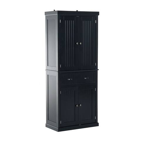 Homcom Tall 72 Traditional Colonial Style Standing Kitchen Pantry Cupboard Cabinet Black