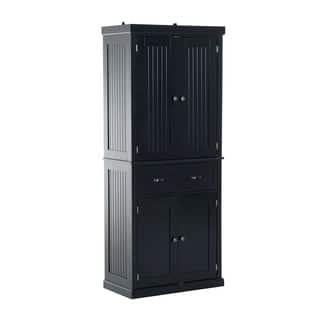 "HomCom Tall 72"" Traditional Colonial Style Standing Kitchen Pantry Cupboard Cabinet - Black"