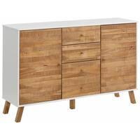 Rafael 2 Door 4 Drawer Sideboard, solid pine, off white / natural