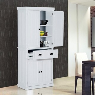 """HomCom Tall 72"""" Traditional Colonial Style Standing Kitchen Pantry Cupboard Cabinet - White"""