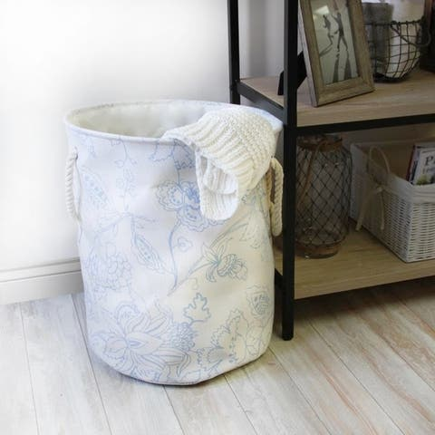 Flowie Laundry Hamper with Rope Handles in Floral Pattern