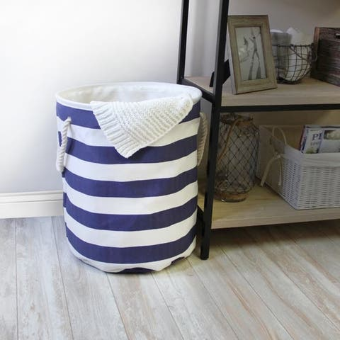 Stompy Laundry Hamper with Rope Handles in Stripe Pattern