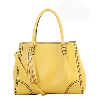 Diophy PU Leather Woven Edging Large Tote With Tassels Decoration