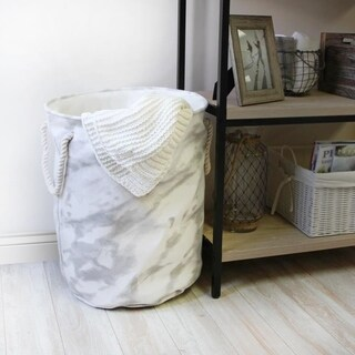Mandy Laundry Hamper with Rope Handles in Grey Marble Pattern