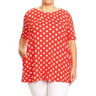 Women's Trendy Polka Dot Plus Size Babydoll Tunic Top