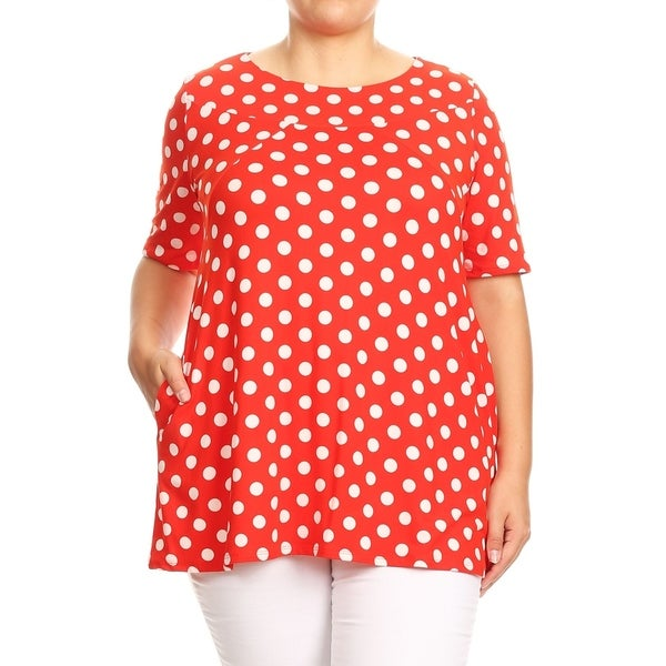 094701d4049 Shop Women s Trendy Polka Dot Plus Size Babydoll Tunic Top - On Sale ...
