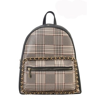 Diophy PU Leather Plaid Pattern Chain Decoration Backpack