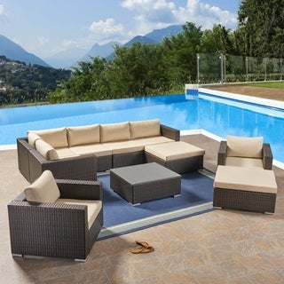 Santa Rosa Outdoor 7 Seater Wicker Sectional Sofa with Aluminum Frame by Christopher Knight Home