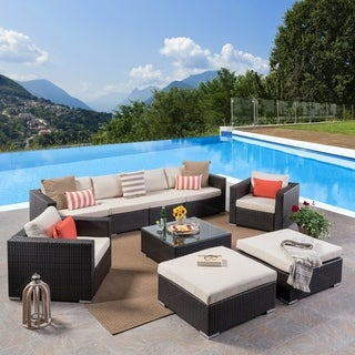 Santa Rosa Outdoor 6 Seater Wicker Sectional with Aluminum Frame by Christopher Knight Home