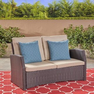 Sanger Outdoor Wicker Loveseat by Christopher Knight Home