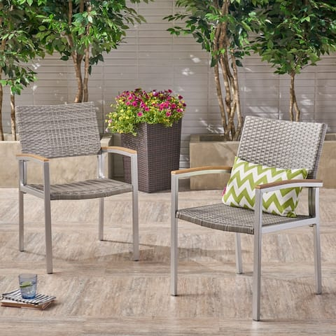 Luton Outdoor Wicker Dining Chair with Aluminum Frame (Set of 2) by Christopher Knight Home