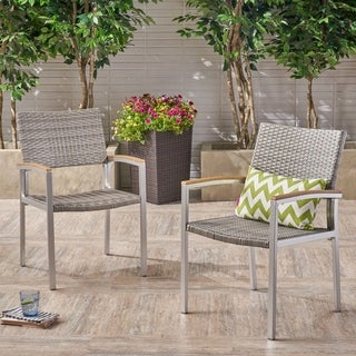 Link to Luton Outdoor Wicker Dining Chair with Aluminum Frame (Set of 2) by Christopher Knight Home Similar Items in Outdoor Sofas, Chairs & Sectionals