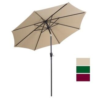 Outdoor Market Umbrella with Push Button Tilt and Crank, Polyester Umbrella, Tan