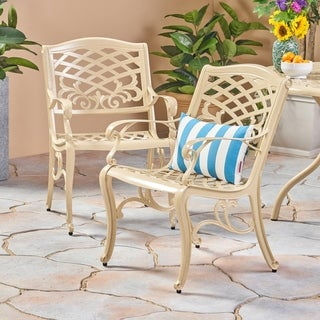 Phoenix Outdoor Cast Aluminum Arm Chair (Set of 2) by Christopher Knight Home