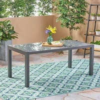 Rowan Outdoor Tempered Glass Dining Table with Aluminum Frame by Christopher Knight Home