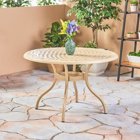 Phoenix Outdoor Cast Aluminum Round Dining Table by Christopher Knight Home