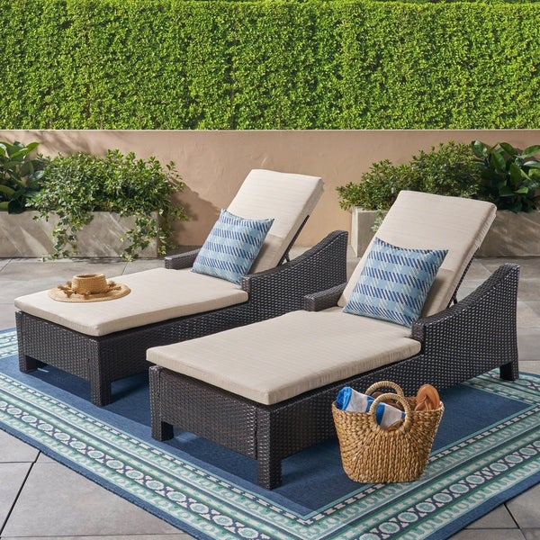 Antibes Outdoor Wicker Chaise Lounges (Set of 2) by Christopher Knight Home