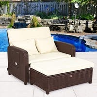 2 PC Daybed Set Chaise Lounge Chair with Creamy cushion