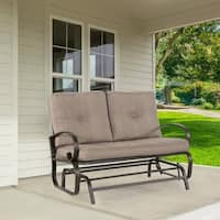 2 Person Loveseat Cushioned Rocking Bench Furniture Patio Swing Rocker Lounge Glider Chair Outdoor Patio, Gradient Brown