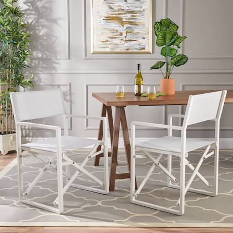 Duncan Indoor Mesh and Aluminum Director Chairs (Set of 2) by Christopher Knight Home