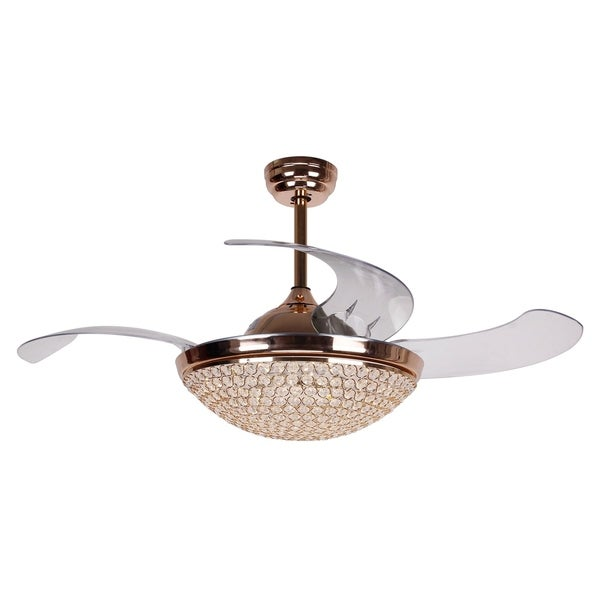 42 Inch Restracable 4 Blades Dimmable Crystal Ceiling Fan With Remote French Gold