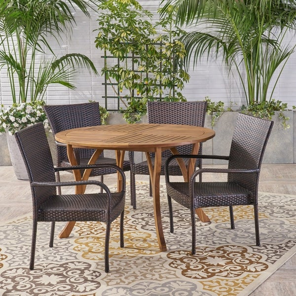 Collins Outdoor 5 Piece Acacia Wood and Wicker Dining Set by Christopher Knight Home