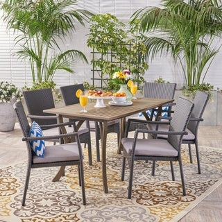 Corleone Outdoor 7 Piece Wood and Wicker Dining Set by Christopher Knight Home