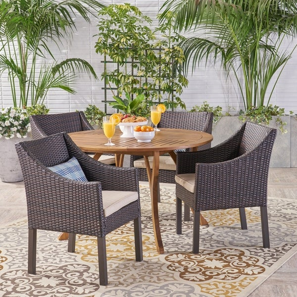 Kingston Outdoor 5 Piece Acacia Wood and Wicker Dining Set by Christopher Knight Home