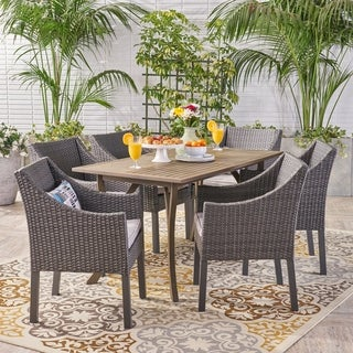Tara Outdoor 7 Piece Wood and Wicker Dining Set by Christopher Knight Home