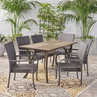 Monterey Outdoor 7 Piece Wood and Wicker Dining Set by Christopher Knight Home