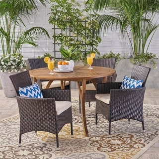 Albury Outdoor 5 Piece Acacia Wood and Wicker Dining Set by Christopher Knight Home