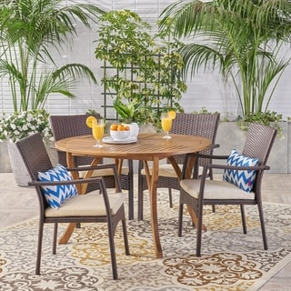 Baldwin Outdoor 5 Piece Acacia Wood and Wicker Dining Set by Christopher Knight Home