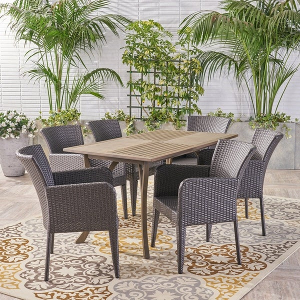 Henaya Outdoor 7 Piece Wood and Wicker Dining Set by Christopher Knight Home