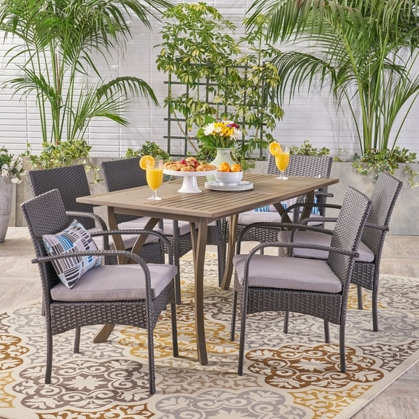 San Andres Outdoor 7 Piece Wood and Wicker Dining Set by Christopher Knight Home