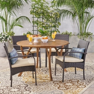 Chilton Outdoor 5 Piece Acacia Wood and Wicker Dining Set by Christopher Knight Home