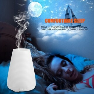 100ml Ultrasonic Air Humidifier Aroma Diffuser With Warm Colorful Led